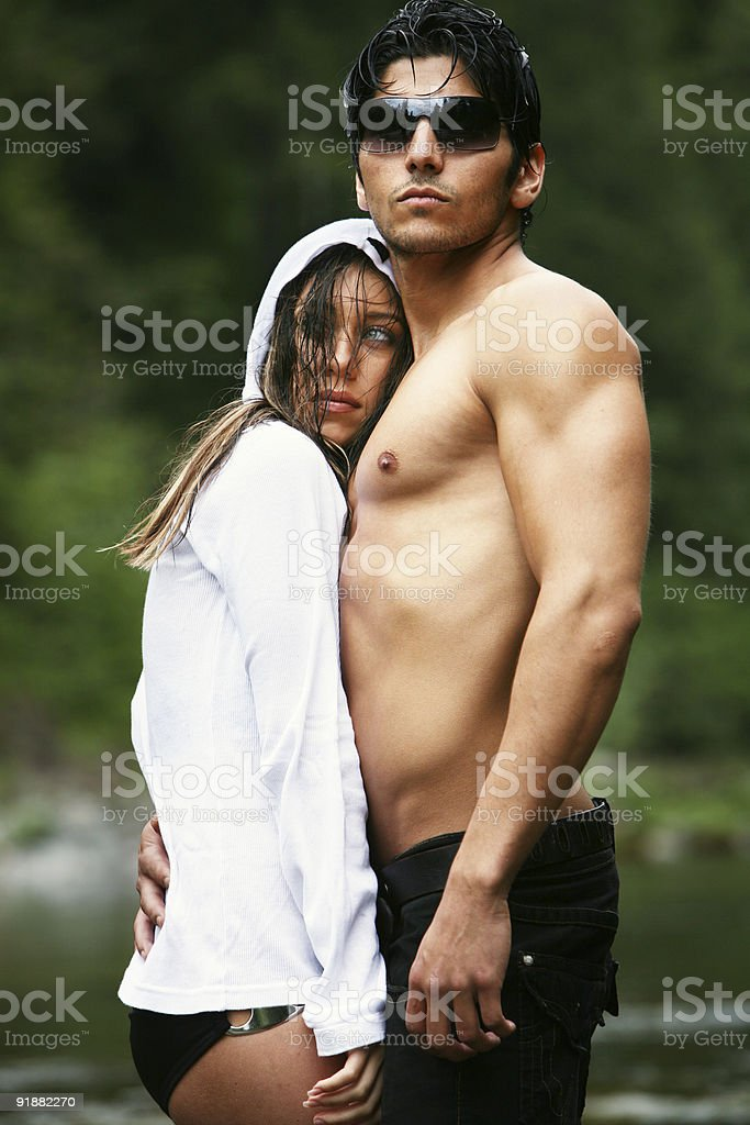 Cold Young Model Couple at the River royalty-free stock photo