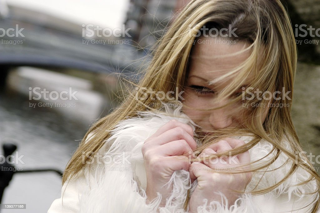 Cold young woman royalty-free stock photo