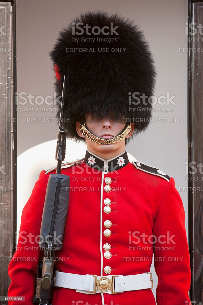 Coldstream Guard at the Tower of London. stock photo