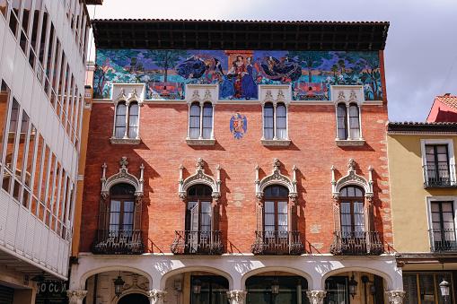 """Colegio de Villandrando"" in the Main Street of Palencia, Spain. Artistic monument of modernist style work of the architect Jerónimo Arroyo"
