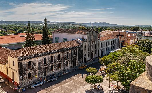Colegio la Assuncion building seen from top of  Cathedral in Leon, Nicaragua.