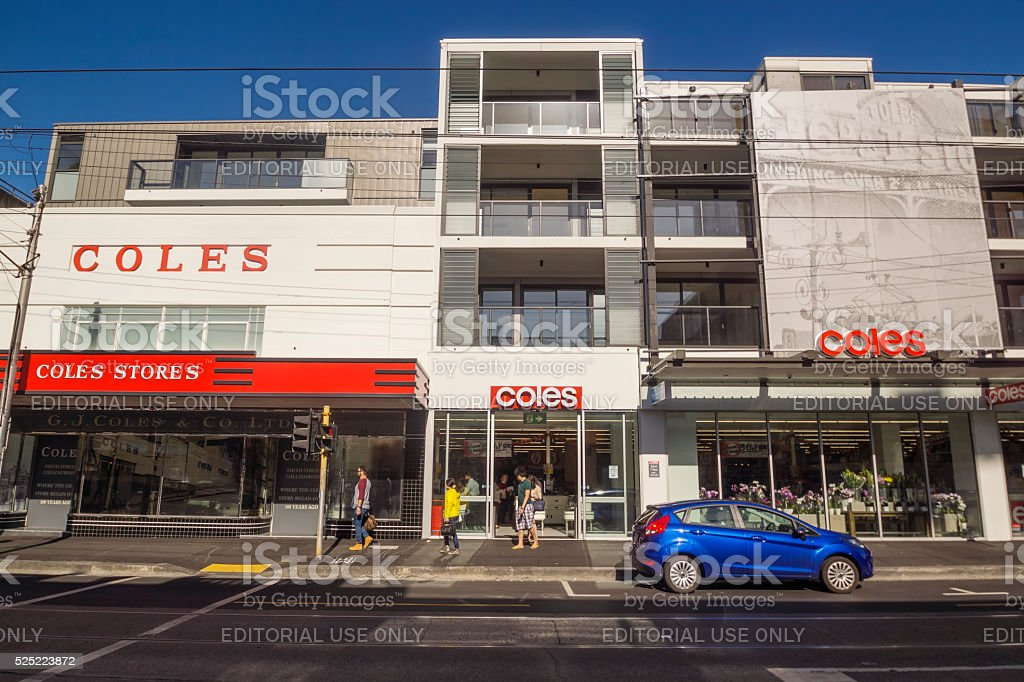 Coles Supermarket in Collingwood stock photo