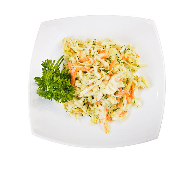 coleslaw salad top view - coleslaw stock pictures, royalty-free photos & images