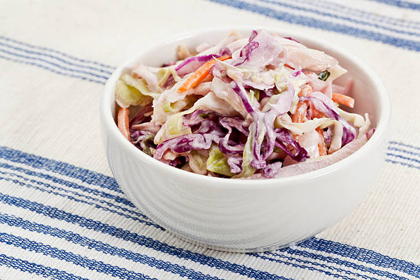 coleslaw side dish - coleslaw stock pictures, royalty-free photos & images