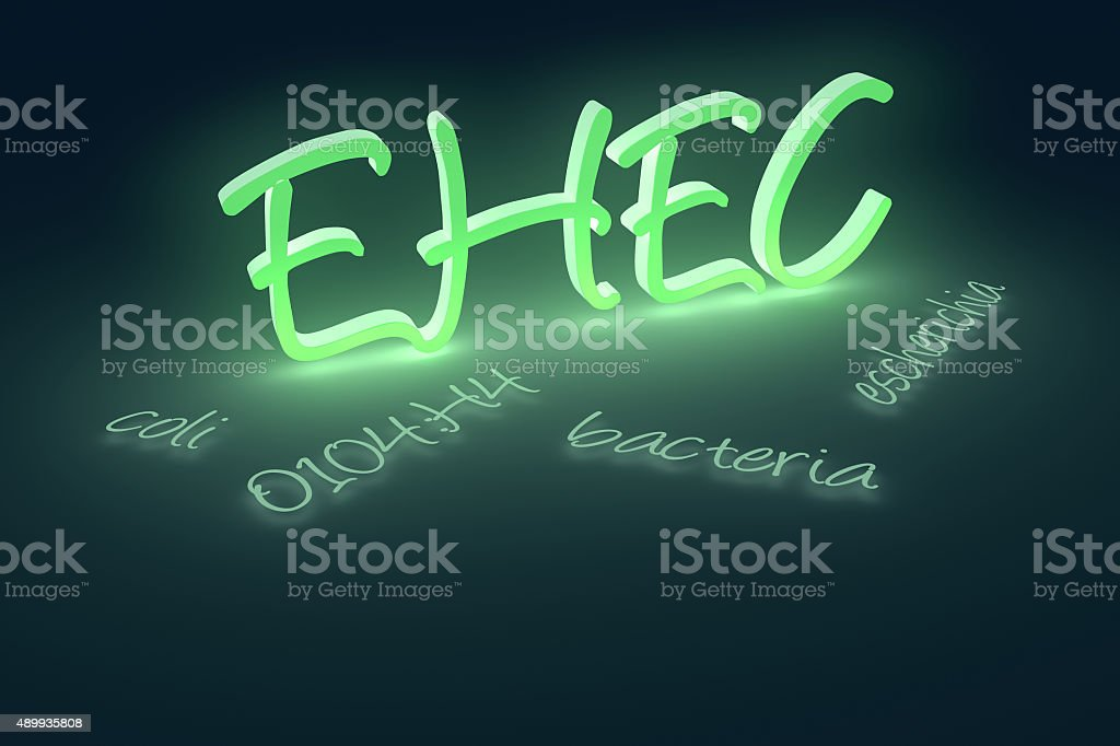 EHEC  coli bacteria text stock photo
