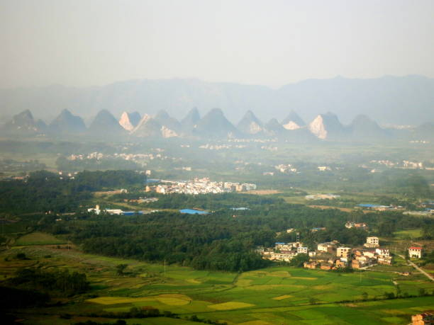 Colinnes de Guilin from the sky stock photo