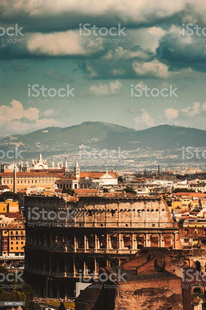 coliseum aerial view in rome stock photo