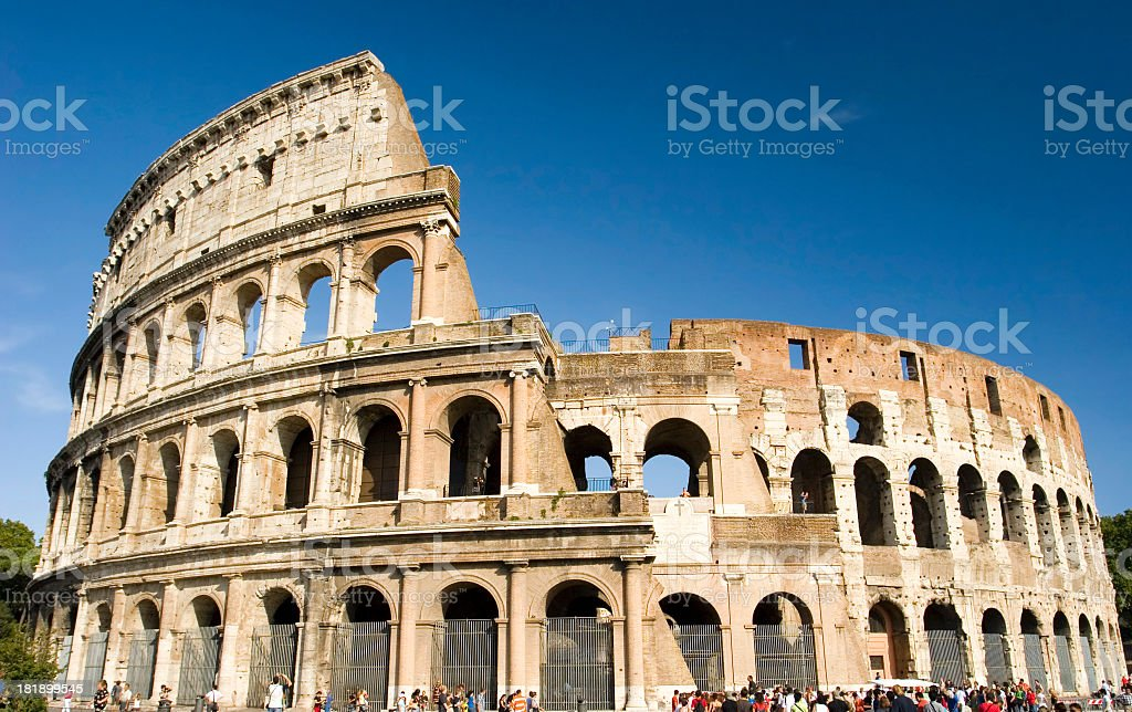 Coliseum against clear blue sky royalty-free stock photo