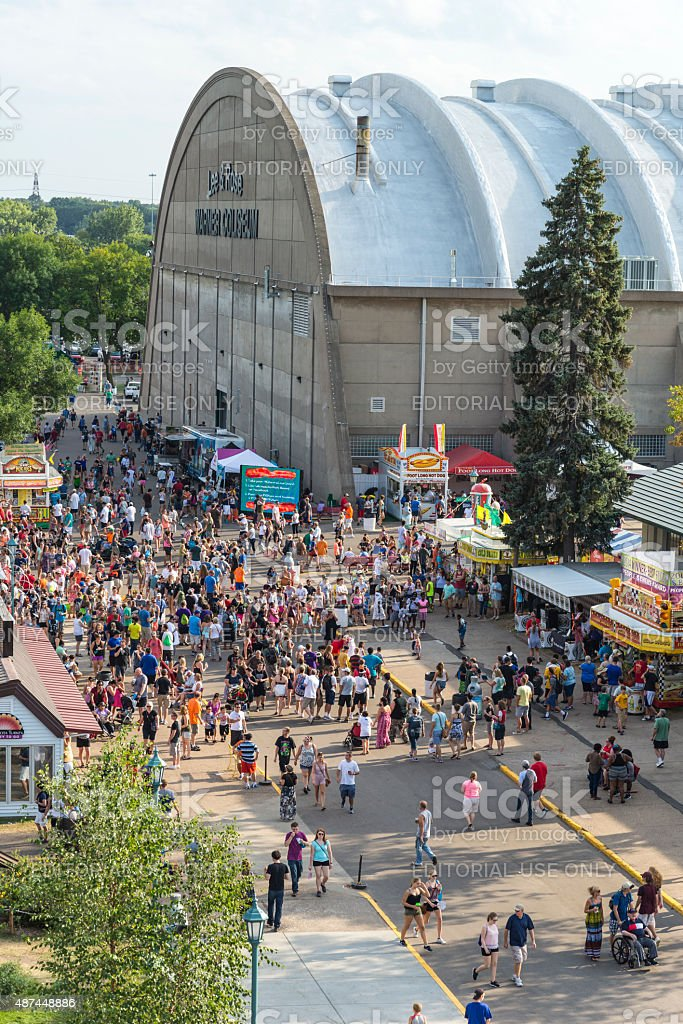 Coliseum and Crowds at Minnesota State Fair stock photo