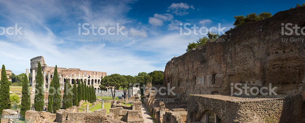 Coliseum and Palatine Hill, Rome royalty-free stock photo