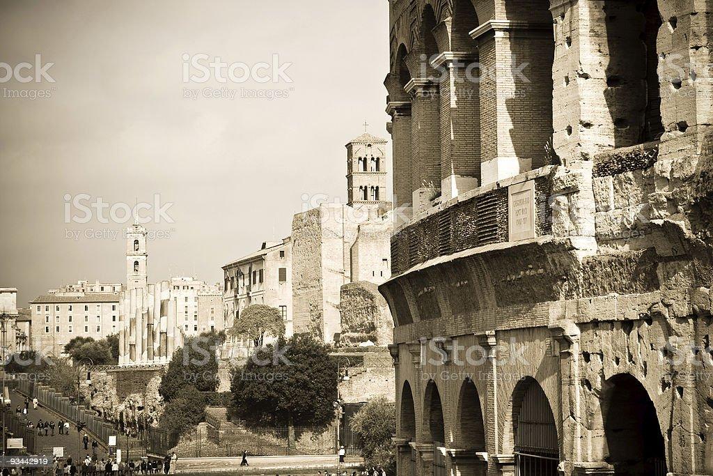 Kolosseum und Forum Romanum Lizenzfreies stock-foto