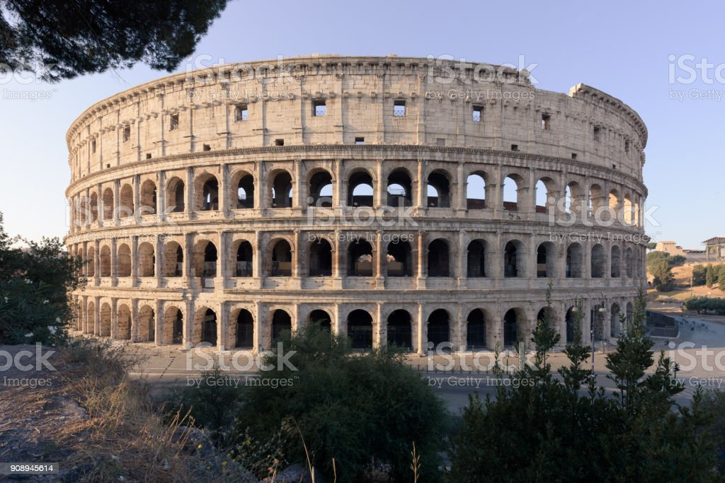 Coliseum at sunrise, Rome, Italy stock photo