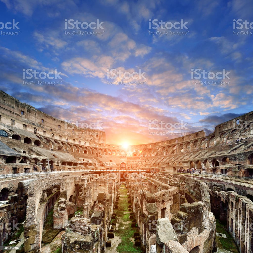 Coliseum at Sunset, Rome, Italy stock photo