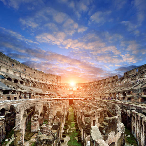 Coliseum at Sunset, Rome, Italy Coliseum at sunset in dramatic sky, Rome, Italy. ancient rome stock pictures, royalty-free photos & images