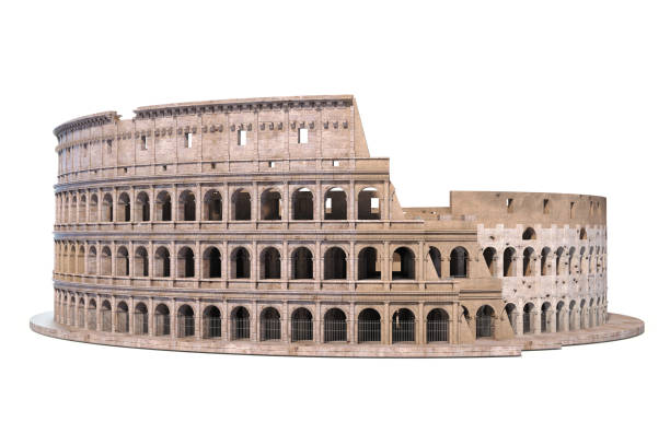 Coliseum, Colosseum isolated on white. Architectural and historic symbol of Rome and Italy, stock photo