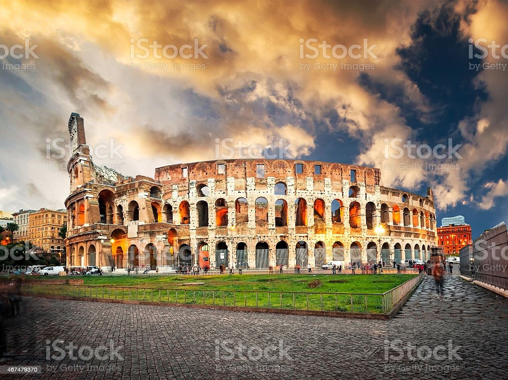 Coliseum evening stock photo