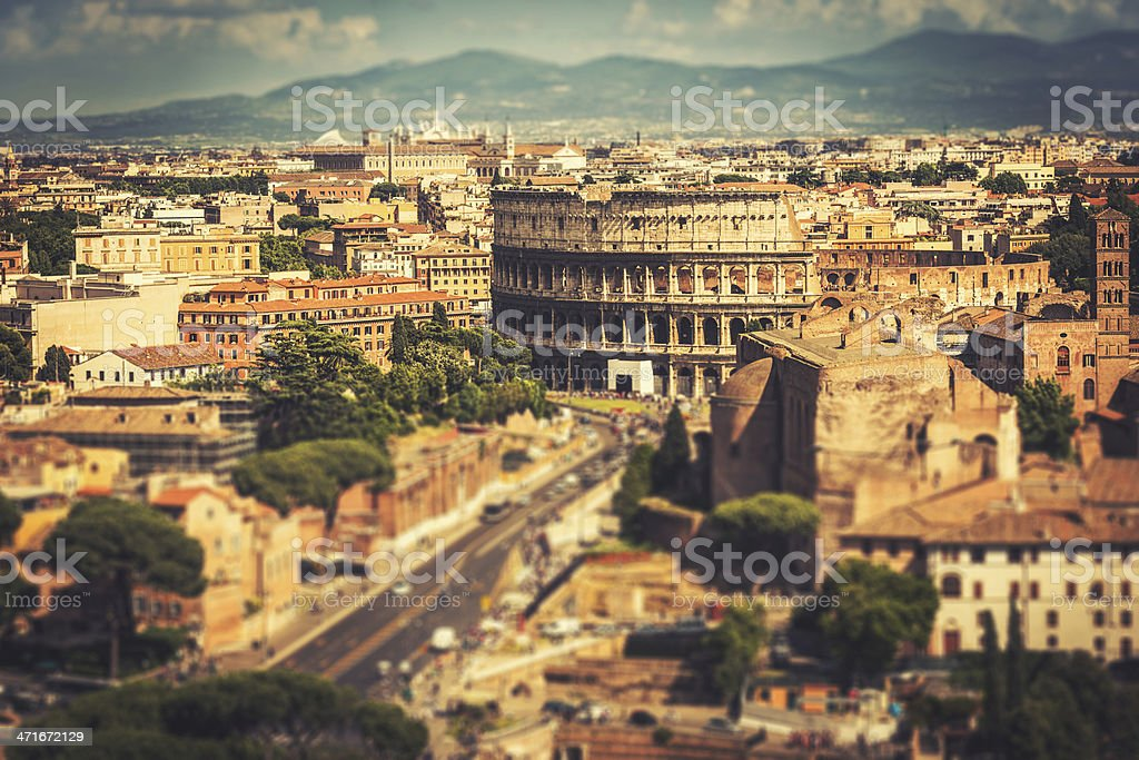 Coliseum in rome aerial view royalty-free stock photo