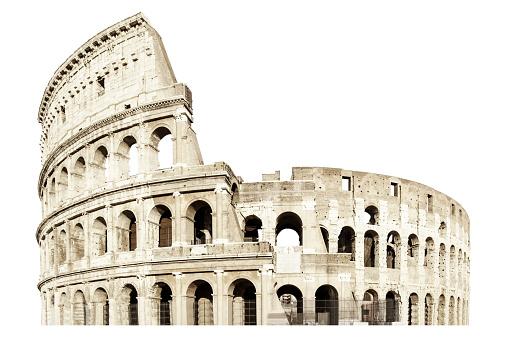 Coliseum isolated on white. Italy rome . Flavian Amphitheatr