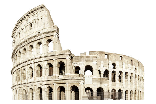 Coliseum isolated on white. Italy rome . Flavian Amphitheatr stock photo