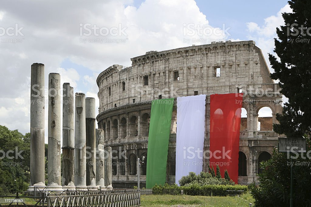 Coliseum with the Italian flag, Rome Italy royalty-free stock photo