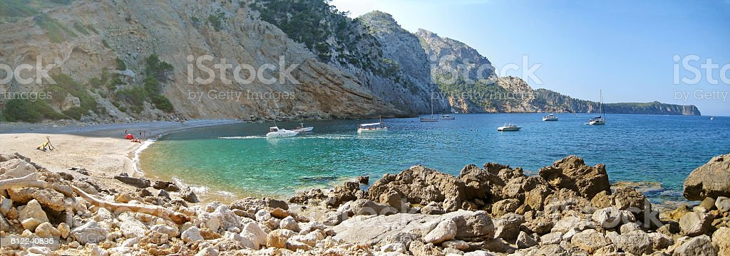 Coll Baix, famous bay / beach north of Majorca stock photo