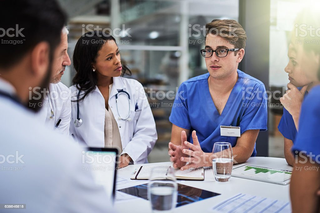 Collaborating to improve patient care stock photo