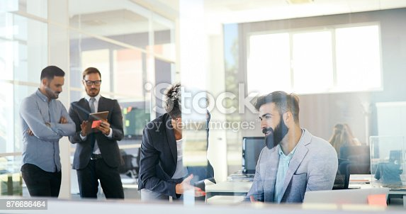 istock Collaboration and analysis by business people working in office 876686464