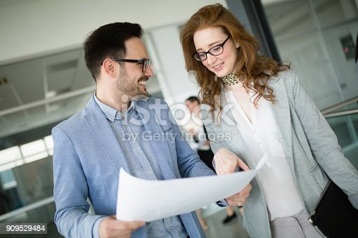 istock Collaboration and analysis by business people working in office 909529484