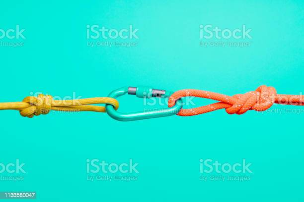 Collaboration And Connection Concepts Ropes And Carabiners Stock Photo - Download Image Now