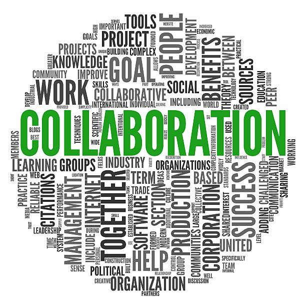 Collaboration concept in word tag cloud stock photo