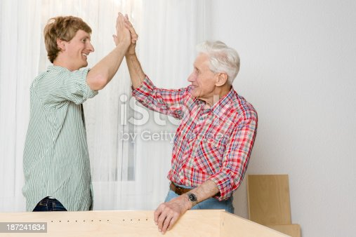 459069877 istock photo Collaboration: Grandfather and grandson assembling furniture 187241634