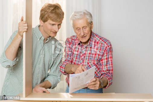 459069877 istock photo Collaboration: Grandfather and grandson assembling furniture 187287153