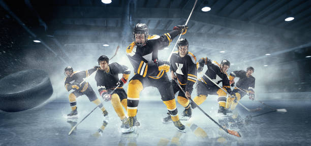 collage about ice hockey players in action - hockey stock pictures, royalty-free photos & images