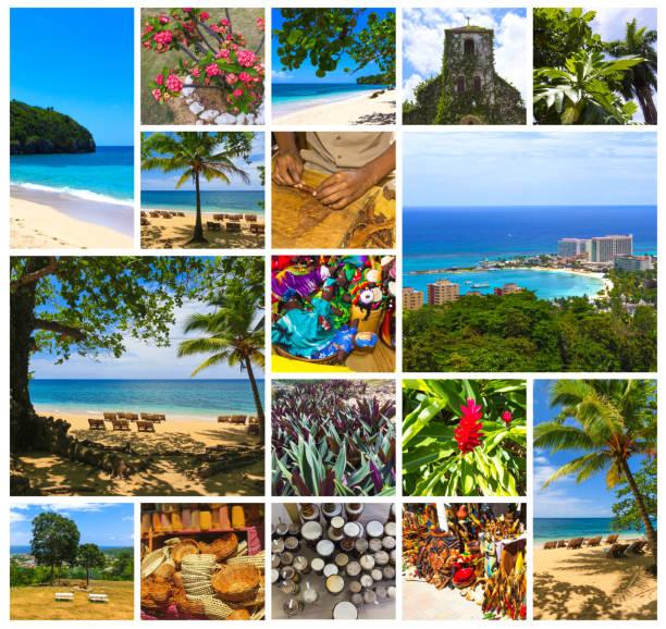 collage über jamaika - karibik-insel - foto collage geschenk stock-fotos und bilder