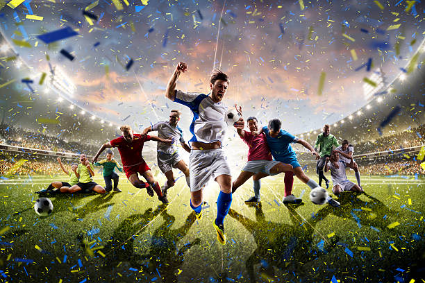 Collage adult children soccer players in action on stadium panorama – Foto