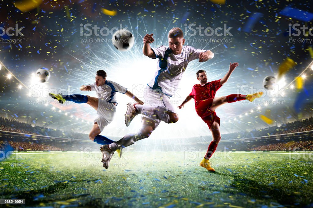 Collage adult soccer players in action on stadium panorama - foto de stock