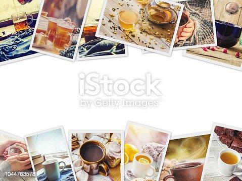 istock Collage autumn. tea hot drink. Selective focus. 1044763578