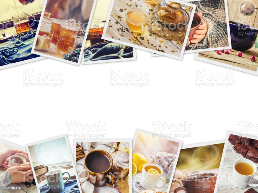 Collage autumn. tea hot drink. Selective focus. stock photo