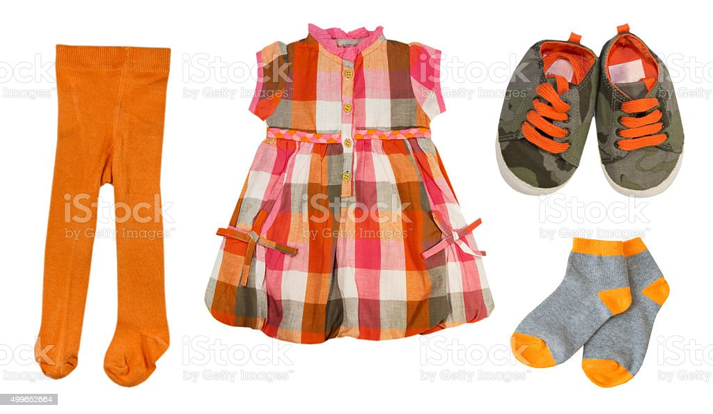 Collage baby clothes set.Isolated. stock photo