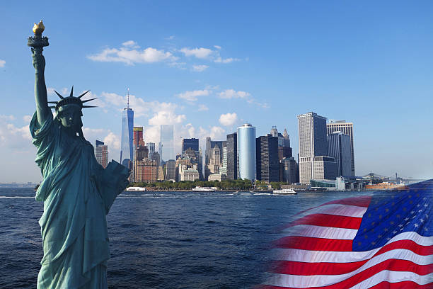 USA collage background USA collage - Statue of Liberty, New York, United States Flag green card stock pictures, royalty-free photos & images