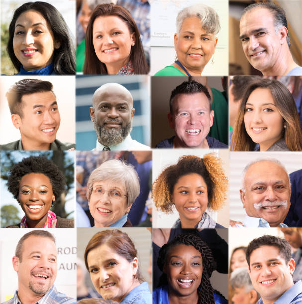 Collage, composite of multi-ethnic, mixed age group of people. Collage, composite image of a group of multi-ethnic, mixed age adults.  Headshots only. mosaic stock pictures, royalty-free photos & images