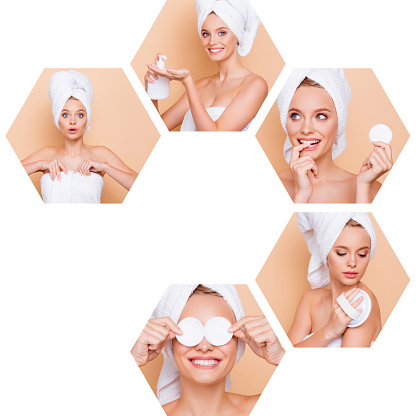 istock Collage composition of five hexagonal nice attractive lovely girl making different effective useful professional domestic conditioner isolated over beige background 1132508513