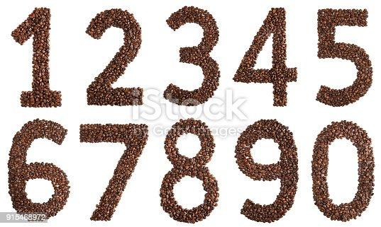 istock collage digits from coffee beans on white background 915468972