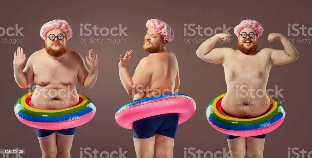 Hombre Divertido Gordo Collage En Un Traje De Baño Con Un Círculo Inflable Foto De Stock Y Más Banco De Imágenes De Actividad Al Aire Libre Istock