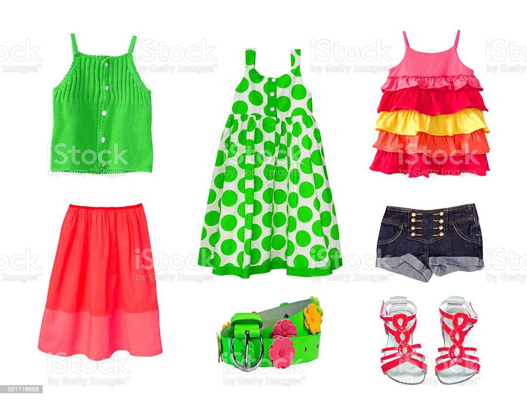 caff8fa84e Collage female child clothes.Set kid fashion clothing.Isolated.  royalty-free stock