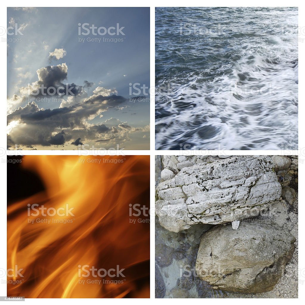 Collage four elements stock photo