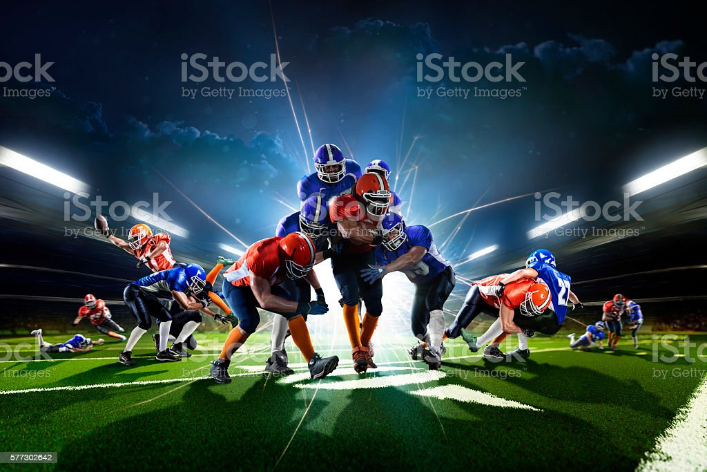 Collage from american football players in the action grand arena stock photo