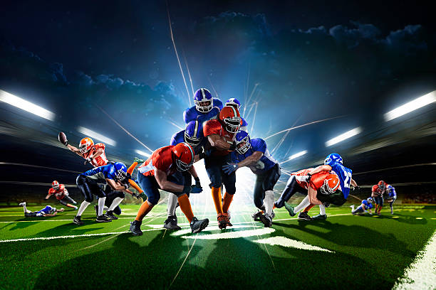 Collage from american football players in the action grand arena – Foto