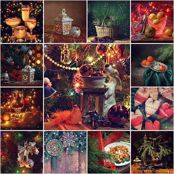 collage from new year's pictures. - foto collage geschenk stock-fotos und bilder