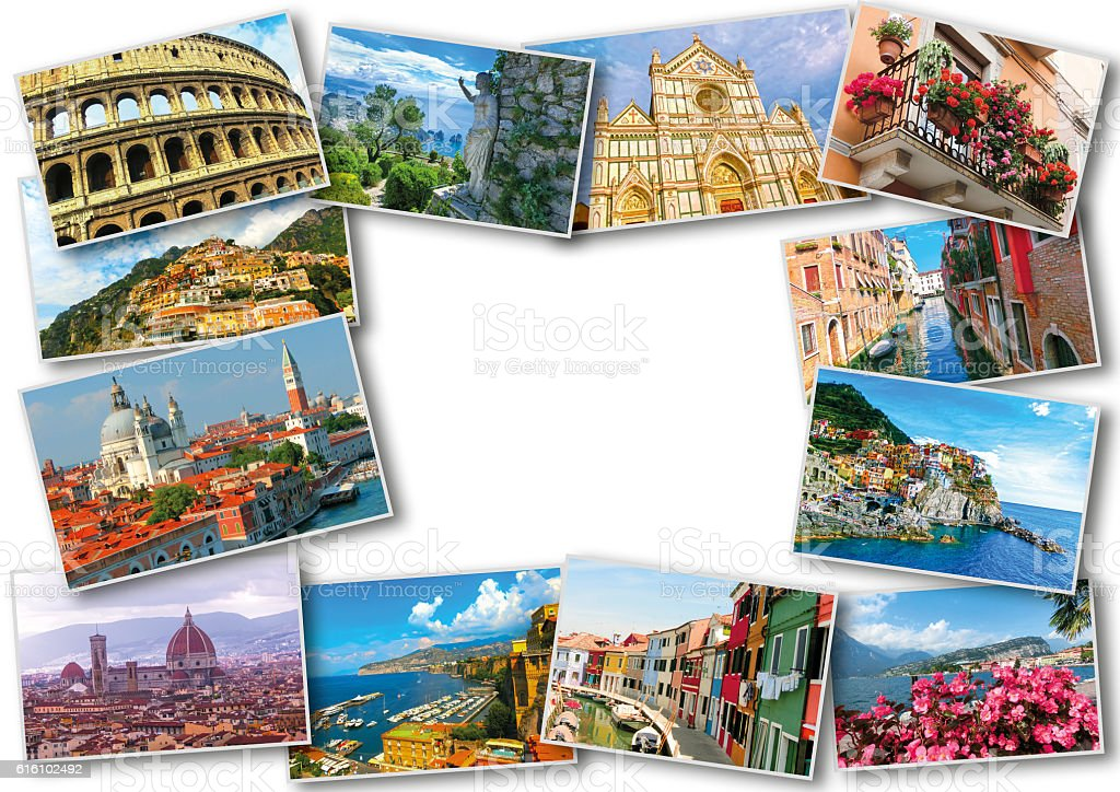 Collage from photos of Italy on white background stock photo